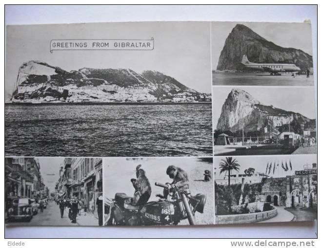 Gibraltar Aeroport, Rues , Singes Sur Moto, Motorcycle Postally Used 1957 - Gibraltar