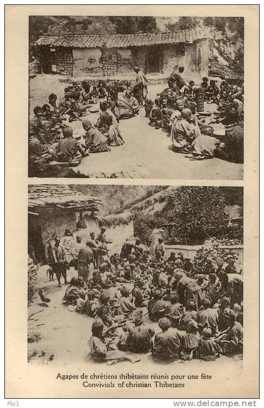 CPA: Tibet - Agapes De Chrétiens Thibétains Réunis Pour Une Féte - Tibet