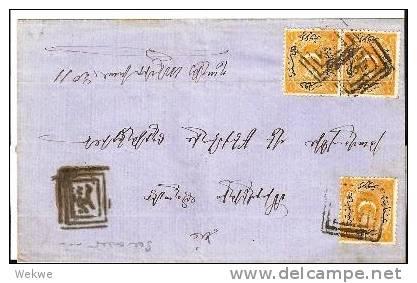 Tur116/  / -  TÜRKEI -Brief, Bachche Capusi 1870, Portomarke 12 Ba + 15 A (3x)  RRR (cover, Lettre) - 1858-1921 Osmanisches Reich