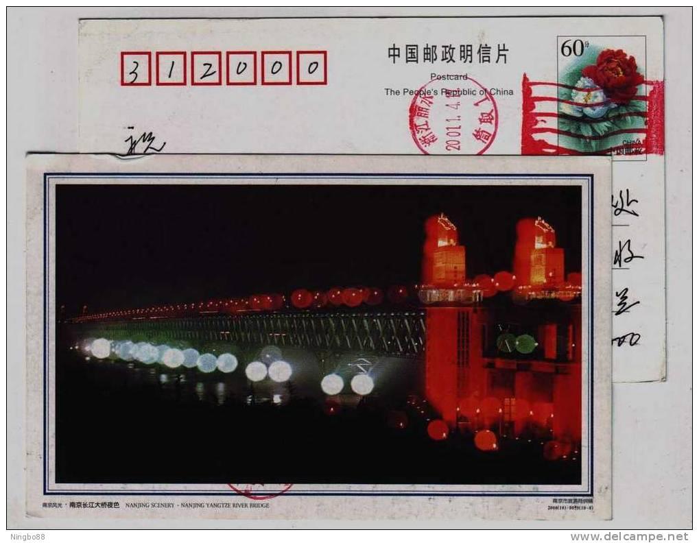 Night Scenery Of Changjiang River Double-deck Railway-road Combined Bridge,CN00 Nanjing Tourism Bureau Pre-stamped Card - Puentes