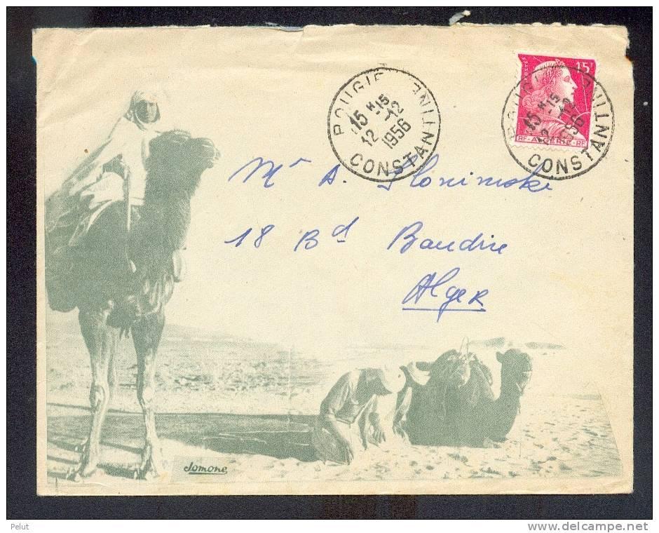 Enveloppe Illustrée Chameux Et Désert  Cachet Bougie Constantine 1956 - Storia Postale