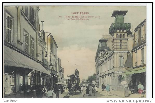 K 806 / CPA   PARIS     (75)    RUE DE BELLEVILLE  (atellage) - Arrondissement: 20