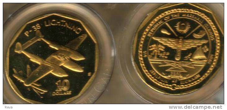 MARSHALL ISLANDS $10 ARMY WAR AIRFORCE AIRPLANE LIGHTING FRONT BOAT EMBLEM 1991 SCARCE KM?READ DESCRIPTION CAREFULLY!!! - Marshall Islands