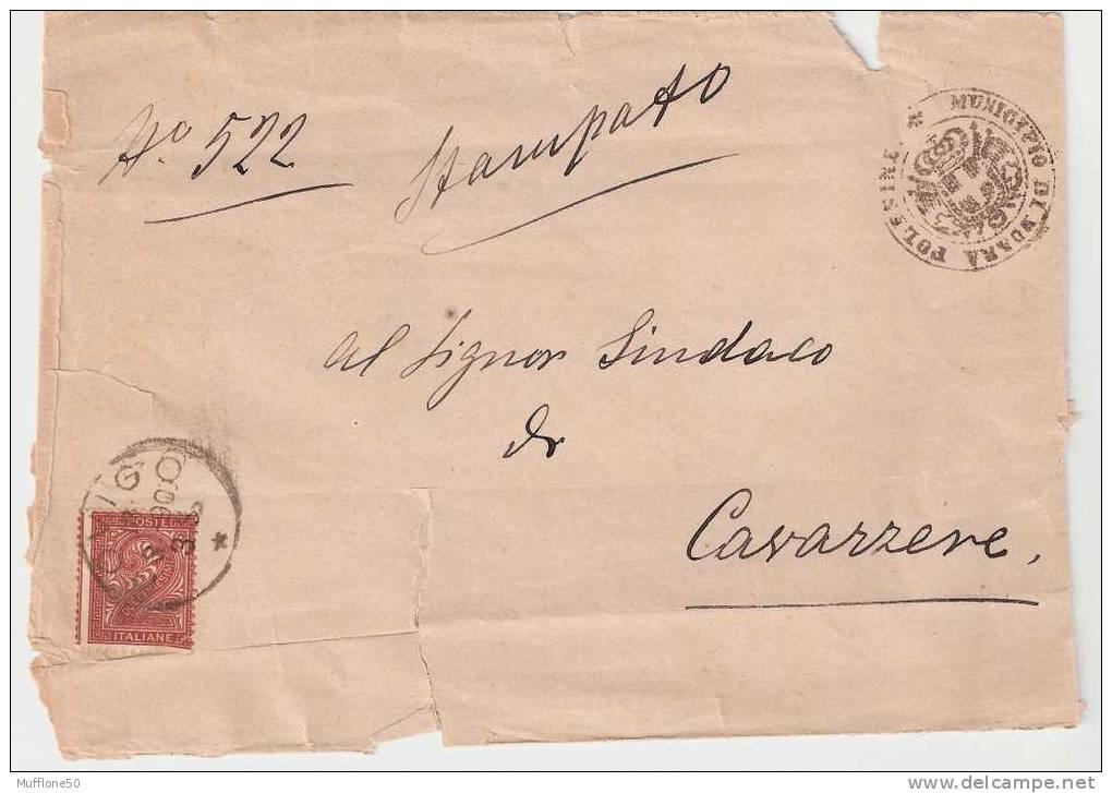 Italia 1890. Busta Viaggiata Con Timbro Municipio Di MOARA POLESINE E Bollo Da C. 2 Del 1863. - Marcofilía