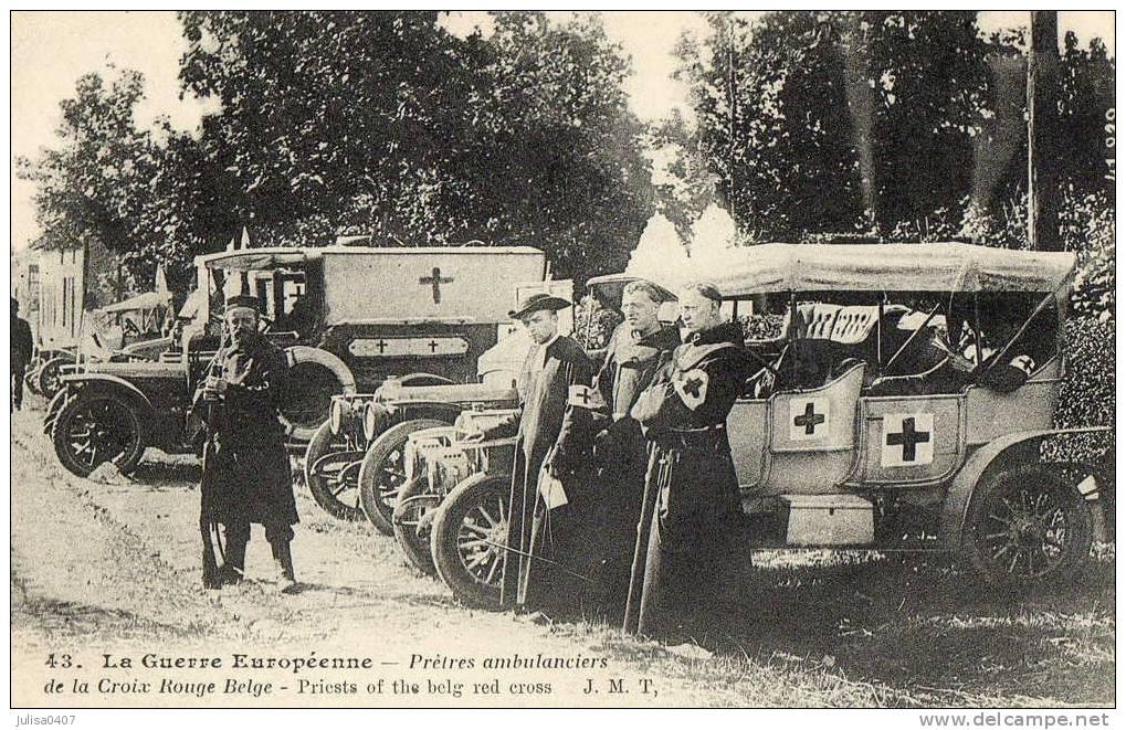 CROIX ROUGE BELGE Guerre 1914-1918 Prètres Ambulanciers Superbe Plan - Croix-Rouge
