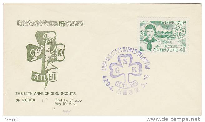 Korea-1961 15th Anniversary Of Girl Scouts  FDC - Scouting