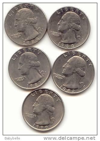 5 QUARTER S DOLLARD  /ANNEES 84(2) 82 87 90  Lettre P - Federal Issues