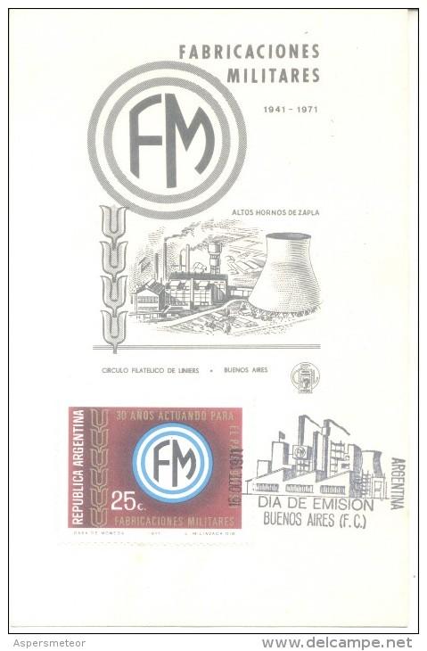 FABRICACIONES MILITARES. ALTOS HORNOS DE ZAPLA, JUJUY, ARGENTINA FDC 1971 TBE VERY GOOD SHAPE CUAC - Fábricas Y Industrias