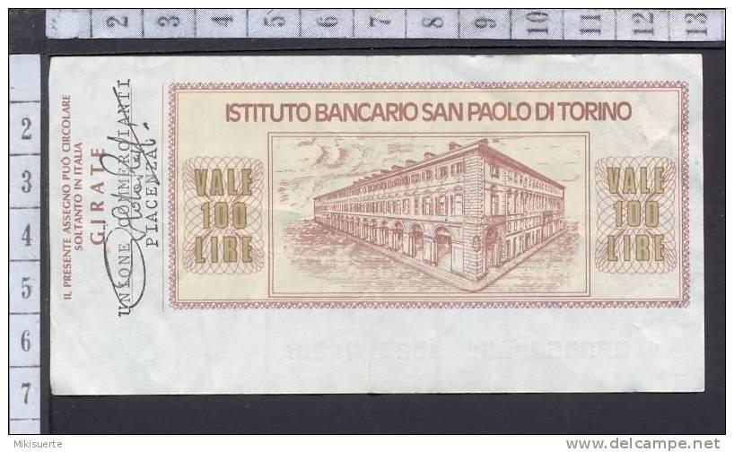 A04 MiniAssegno ISTITUTO SAN PAOLO DI TORINO A UNIONE COMMERCIANTI PIACENZA LIR 100 1976 - [ 2] 1946-… : Repubblica