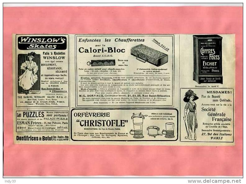 - PAGE DE PUBLICITES DIVERSES DU DEBUT DU XXe S. DECOUPEE ET COLLEE SUR PAPIER - Publicités
