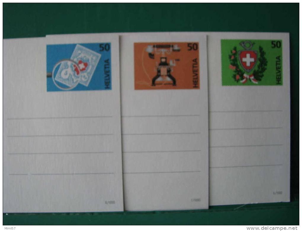 3 Entiers Postaux SUISSE C.P.M. Illustrée Wagon, Commutateur Et Timbre Poste - Interi Postali
