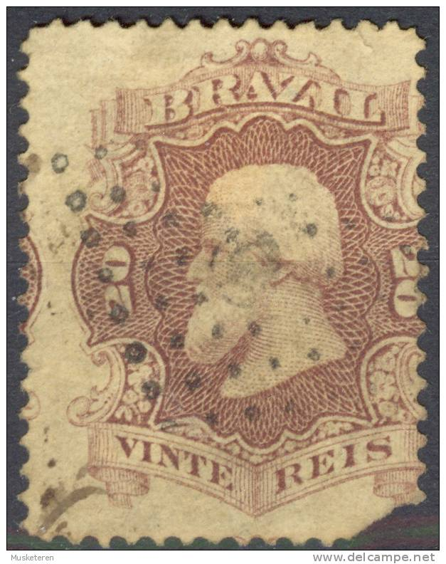 Brazil 1866 Mi. 24a Emperor Pedro II. ERROR Misplaced Print - Brasil