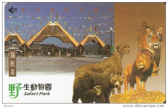 TARJETA MAGNETICA DE CHINA DE SAFARI PARK (TIGRE-LEON-GUEPARDO-OSO)  (32SHEA) - Giungla