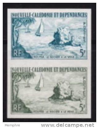 1962  Le Rocher à La Voile, Nouméa Paire D´esaais De Couleur Non-dentelée  Yv 304 - Non Dentelés, épreuves & Variétés