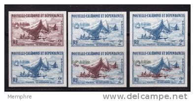 1962  Pirogues Mélanésiennes  3 Paires D´esaais De Couleur Non-dentelées  Yv 302 - Imperforates, Proofs & Errors