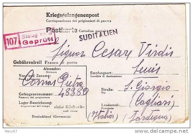 Italy PRIGIONIERI Dei GUERRA GERMANY To SUDITALIEN  1944 - 5. 1944-46 Lieutenance & Umberto II