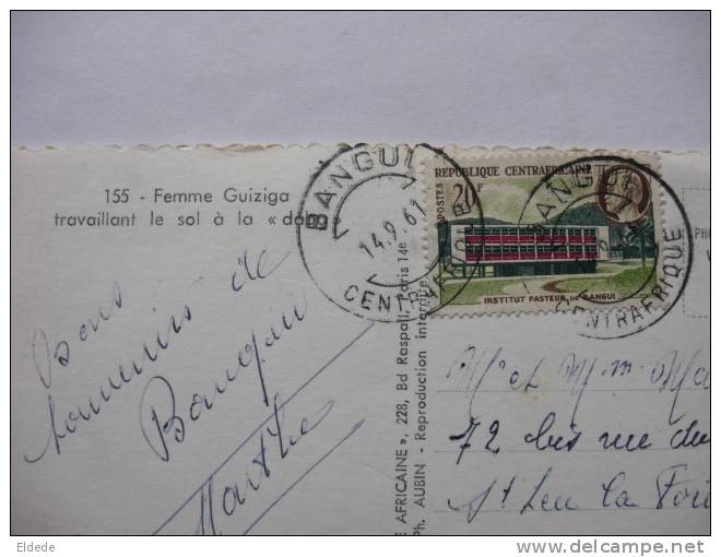 """155 Femme Guiziga Travaillant Le Sol A La """" Dabo """" Timbre Institut Pasteur Bangui 1961 - Centrafricaine (République)"""