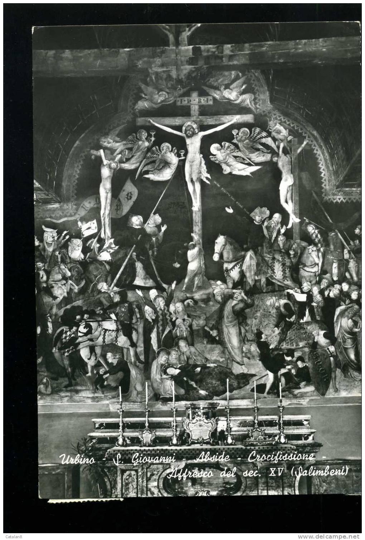 V0333 CARTOLINA ILLUSTRATA URBINO CHIESA SAN GIOVANNI ABSIDE V. - Paintings