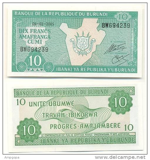 Burundi 10 Amafranga 2005 Pk 33 E.1 UNC Ref 273-1 - Burundi