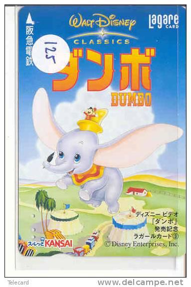 Carte Prépayée Japon (125)  DISNEY JAPAN * DUMBO ELEPHANT  *  PREPAID CARD * FILM MOVIE CINEMA KINO - Disney