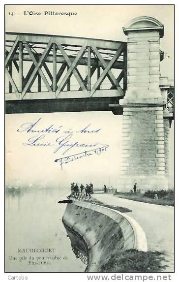 78 VAURECOURT Une Pile Du Pont Viaduc De Fin D'Oise (pêcheurs) - Maurecourt