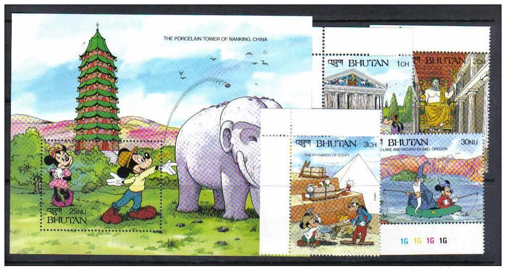 WD9 - BHUTAN , Disney Serie N. 960/963 + Foglietto  *** - Disney