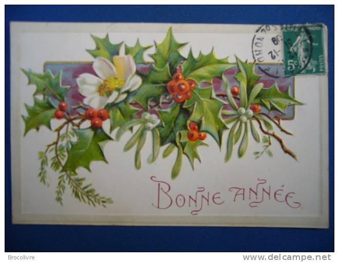 -Fleurs-Bonne Année-carte Gauffrée- - New Year