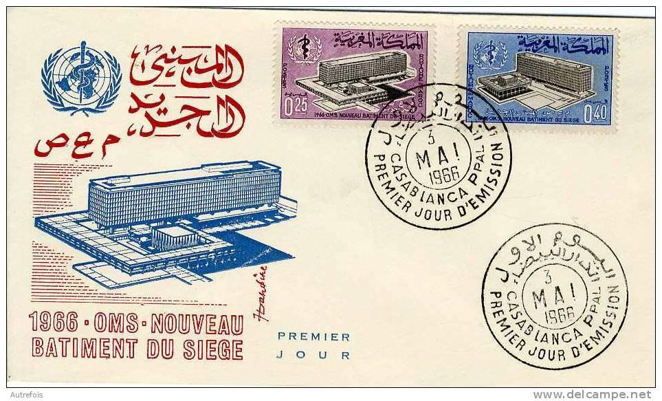 MAROC  -  1966 OMS  -  NOUVEAU BATIMENT DU SIEGE  -  CASABLANCA 1966  -  ENVELOPPE 1° JOUR - Morocco (1956-...)