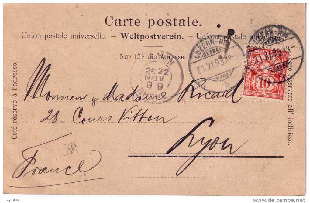 SUISSE-LUZERNE DU 21-10-1899 - Covers & Documents