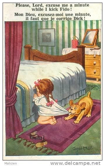 ILLUSTRATEURS-ref 364-illustrateur Donald Mc Gill - L Enfant Et Le Chien -theme Enfants -chiens  - Carte Bon Etat - - Mc Gill, Donald