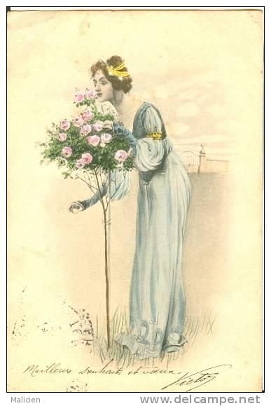 ILLUSTRATEURS-ref  15- Illustrateur  Femmes- Viennoise - M M Vienne -le Bouquet De Roses   - Carte Bon Etat - - 1900-1949