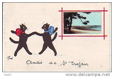 Dép 17 - Chats - Cats - Chats Noirs René - RF7774 - Ile D´Oléron - Saint Trojan Les Bains - Amitiés - état - Katzen