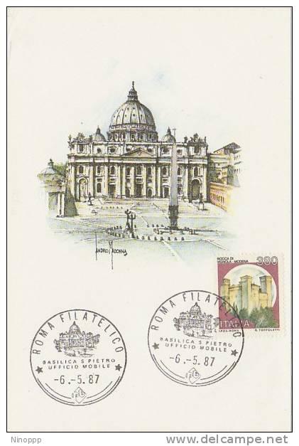 Vatican-1987 Souvenir Poscard - Used Stamps