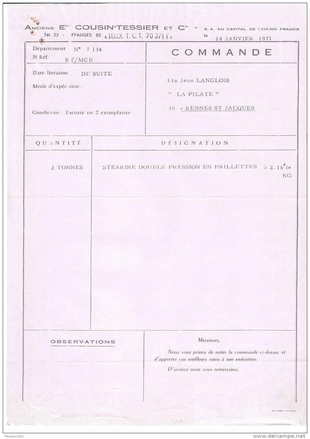 Bon De Commande Des Anciens Etablissements COUSIN-TESSIER Et Cie De Tiffauges Et De 1971 - Vieux Papiers