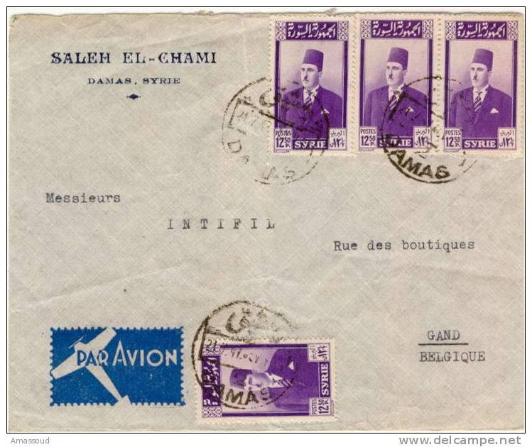 Syria Syrian DAMAS Belgium Registered Cover Fiscal 1942 - Syria