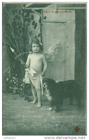 SPORTS Divers -ref  77- Amour Chasseur-chasse  - Le Petit Ange Et Son Arc- Theme Enfants -anges  - Carte Bon Etat - - Tir à L'Arc
