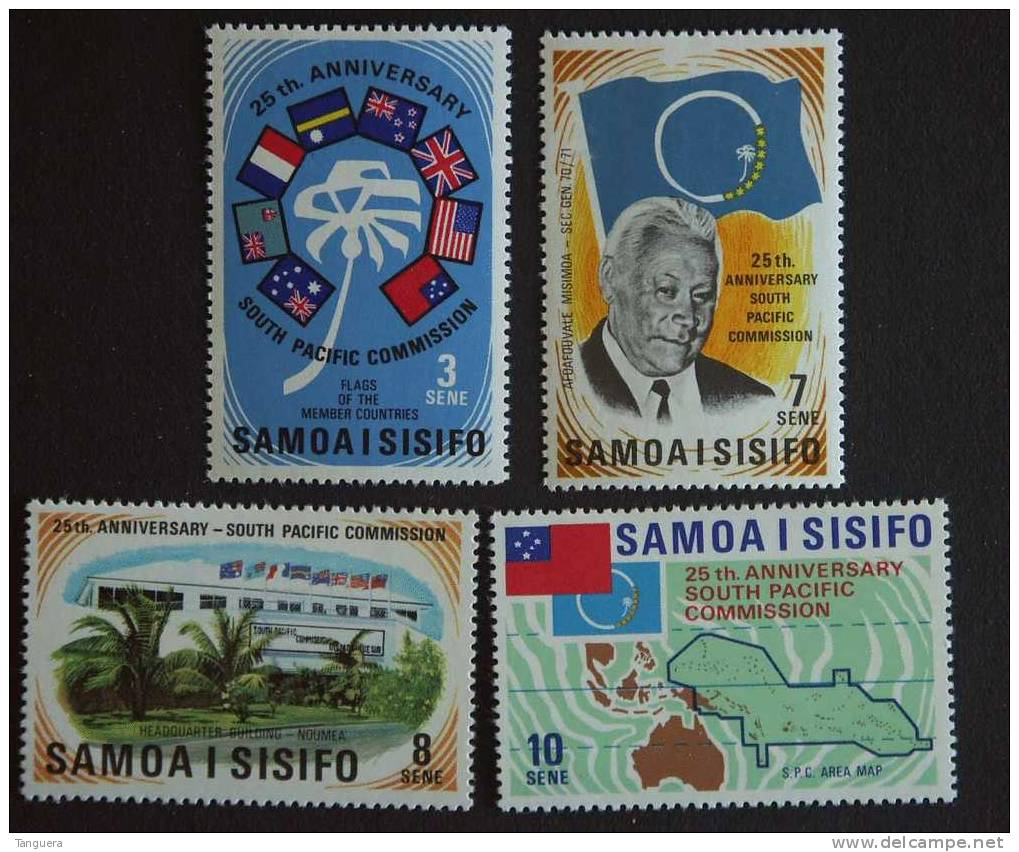 Samoa 1972 25é Anniv Commission Pacifique-Sud Drapaux Carte Yv 297-300 MH * - Samoa (Staat)