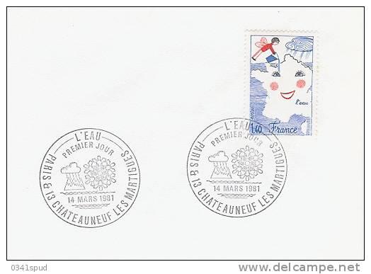 1981  France  FDC  Eau Acqua Water  Sur Enveloppe - FDC