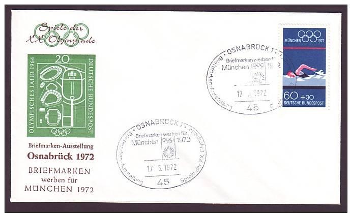 Germany BRD / Sonderbrief / Briefmarken Werben Für München - Olympia 72 / Mi.Nr. 722 / Sonderstempel Osnabrück (O2-48) - BRD