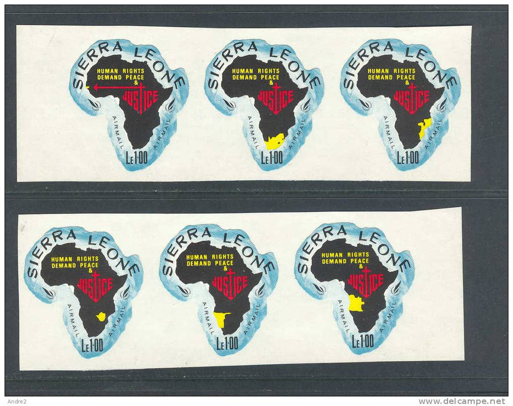 Sierra Leone  1968 Human Rights Year :airmail  6 X 1l Showing Different Territories In Yellow - Sierra Leone (1961-...)