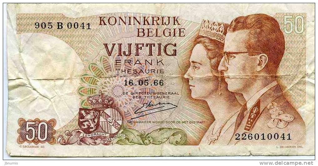 Belgique Belgium 50 Francs 16 Mai 1966 Trésorie P139 - [ 6] Staatskas