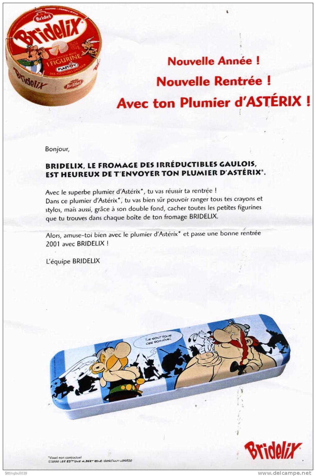 asterix  publicite bridelix accompagnee du cadeau   le plumier asterix  1996 les ed  albert ren u00e9