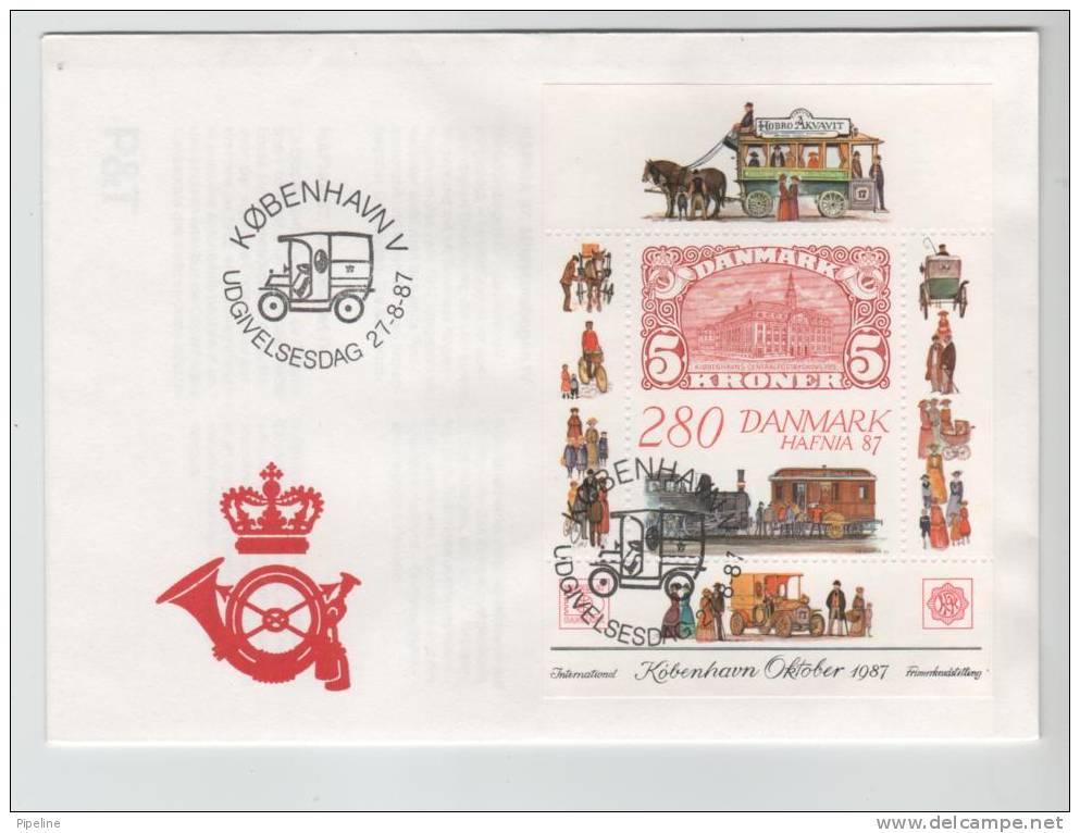 Denmark FDC Miniature Sheet International Stamp Exhibition Hafnia 87 27-8-1987 Including The Ticket - Expositions Philatéliques