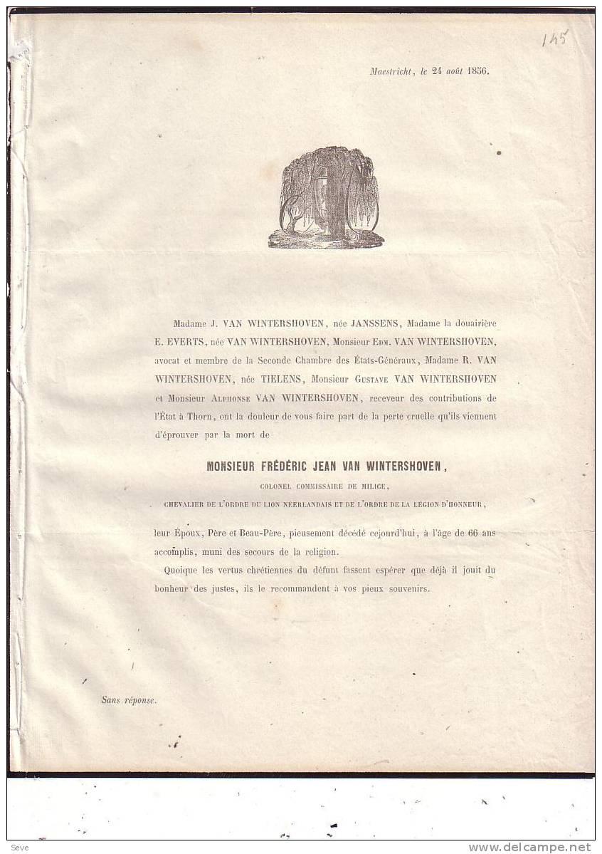 LIMBURG MAASTRICHT Frédéric VAN WINTERSHOVEN Colonel Milice Légion D´honneur 1790-1856 Doodsbericht Mortuaire - Overlijden