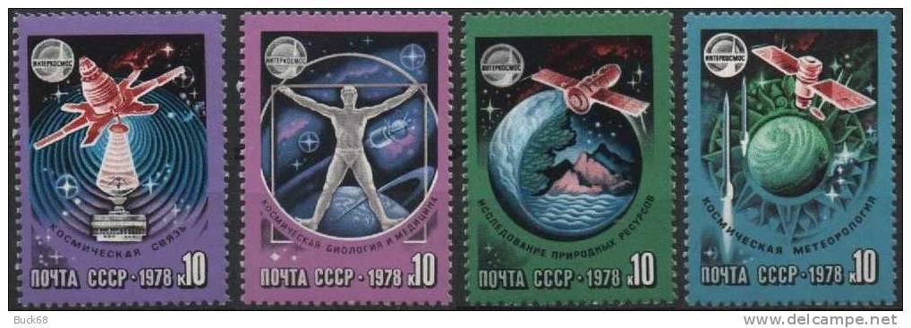 URSS RUSSIE 4487 à 4490 ** MNH Espace Cosmos Space Programme IntercosmosVostok Kosmos Soyouz Molniya - 1923-1991 USSR