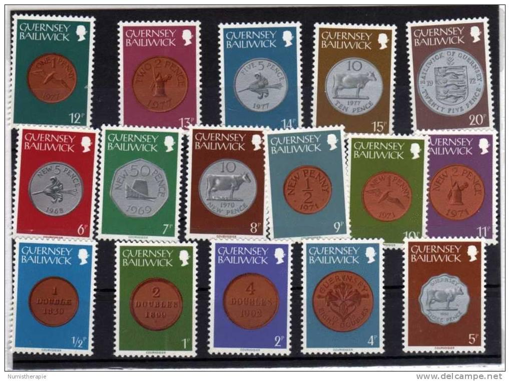 Guernesey Guernsey : Série Complète De 16 Timbres Neufs En Thème Pièces De Monnaie : Coins - Guernesey