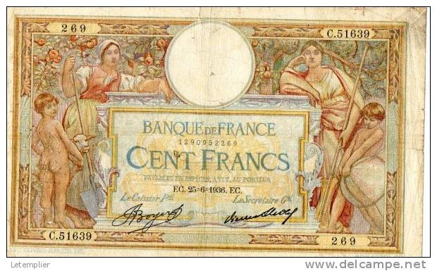 100 F Luc Olivier Merson 25.6.1936 EC 269 - 1871-1952 Antiguos Francos Circulantes En El XX Siglo