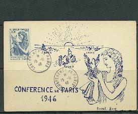 CONFERENCE DE LA PAIX A PARIS OBL. DU 15/10/1946 SUR CP COMMEMORATIVE - France
