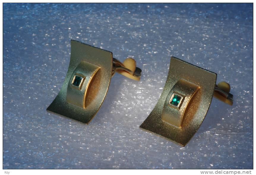 GOLDIGE OHRCLIPS  █▓▒ MIT GRÜNEM STEIN █▓▒ - Earrings