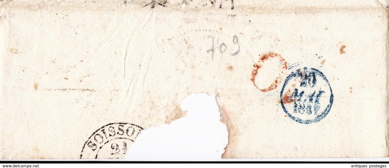 Lettre Italie Cachet De Passage Rouge Pont De Beauvoisin Pour Soissons Aisne 1839 - ...-1850 Voorfilatelie